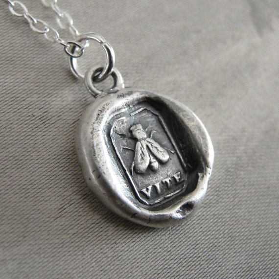 Wax seal necklace with fly - Achieve Results - antique wax seal jewelry in fine silver