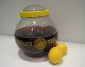 1978 vintage retro solar tea brewing jar by anchor hocking. new old stock. sun tea.