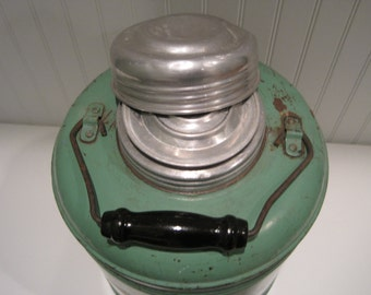 vintage pottery lined green thermos -- treasury item