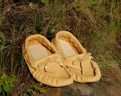 Custom Golden Buffalo Moccasins: pre-order the size you want. Men US size 5-11  Women US size 4-12