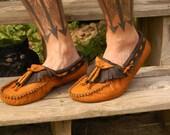 Custom Raven style Buffalo Moccasins:  Mens US size 12-15 or Womens US size 13-16