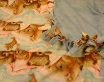 Fleece blanket Sleeping Bears ,pink,light blue , brown,,other side is all light blue.