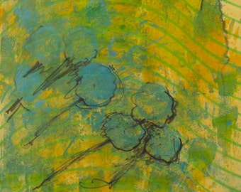 Bachelor's Buttons - Monotype Painting - Blue Flowers in the Wind