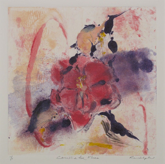 Camellia for Flora - Monotype Painting - Pink Camellia
