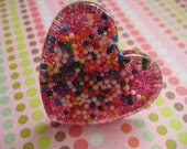 I heart Candy Sprinkles and Glitter Heart  Resin Adjustable ring