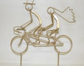 "RESERVED FOR EMILY 5 1/2"" Tandem Bicycle Wedding Cake Topper, Gold, Road Bike Handles"