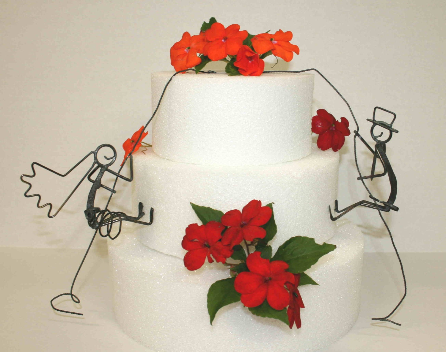 Rock Climbers Bride and Groom Wedding Cake Topper With Display