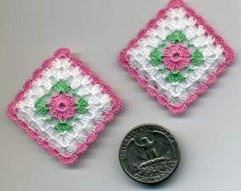 Dollhouse Miniature Pillows Cushions Pair Pink Flower - MADE TO ORDER