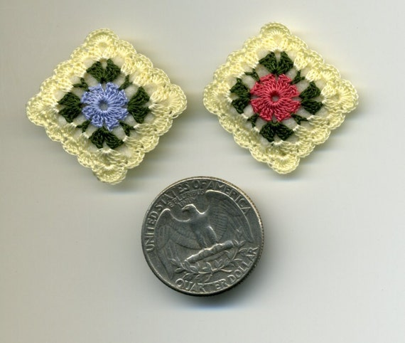 Two Dollhouse Miniature Crocheted Pillows Cushions Half Inch Scale