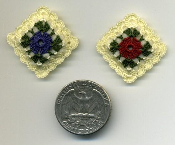 Dollhouse Miniature Crocheted Pillows Cushions Pair Half Inch Scale
