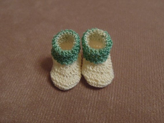 Dollhouse Miniature Slippers - Very Light Pale Yellow and Nile Green