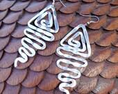 Large Vintage Handmade Silver Hammered Tribal Earrings SALE