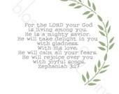 Mighty Savior Zephaniah 3:17 Scripture Print - Green & Gray-  8x10 bible verse wall art decor