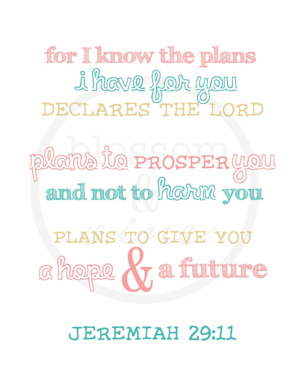 Hope And Future Jeremiah 29 11 Scripture Print Pink