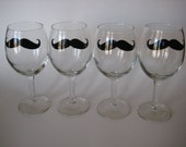 Set of 4 Mustache Wine Glasses Wedding / Bachelorette / Party