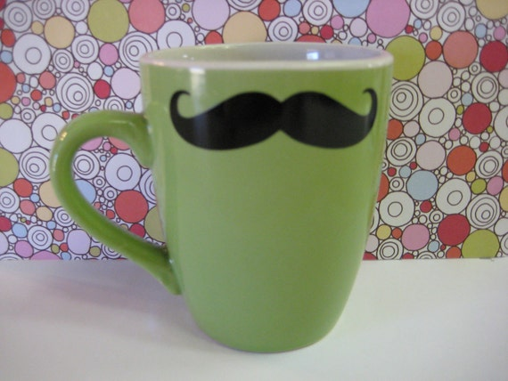 Mustache Mug Green ceramic coffee cup with decal
