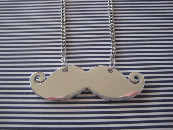 Silver Mustache Necklace Long