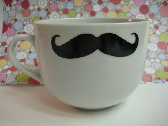 Medium Mustache Mug / Soup Bowl mug White mug with mustache decal