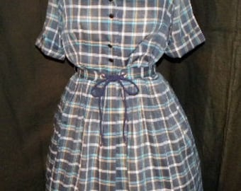 Vintage 1950s dress Teal Navy Plaid, Unique Double Collar and original laced belt