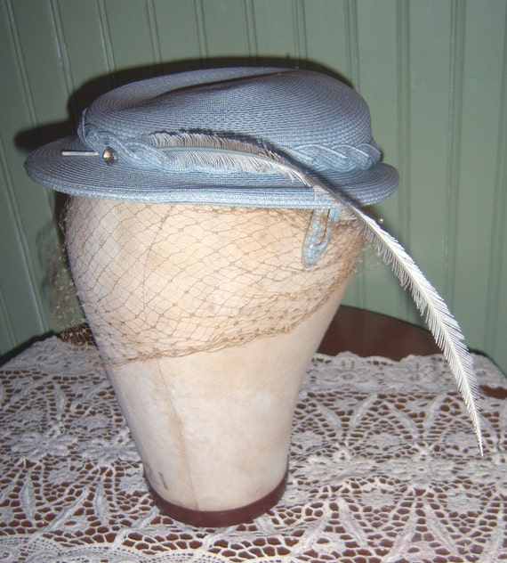 Vintage 1950s Pale Blue Straw Hat with Netting and Feather