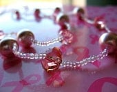 Pink Crystal, Pearl & Glass AB dual layered necklace-Breast Cancer Awereness