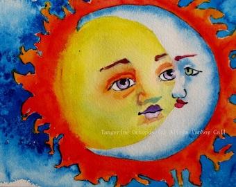 Watercolor, Sun and Moon, Art Prints, Celestial Art, Watercolor Prints, Alicia VanNoy Call, Watercolor Art