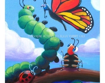 Cute Bug, Butterfly, Bumblebee Painting Print by Alicia VanNoy Call, Illustration, Free Shipping