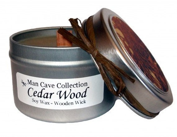 MAN CAVE CANDLE - Cedar Wood Scented - 100% Soy with Wooden Wick - 4 oz