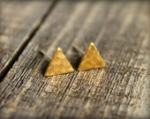 Hammered Triangle Earring Studs in Raw Brass, Stainless Steel Posts
