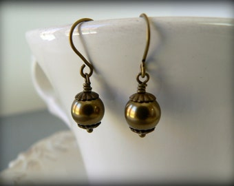 Brass Capped Swarovski Pearl Earrings - 58 colors to choose from