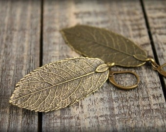 Layered Leaf Earrings in Aged Bronze