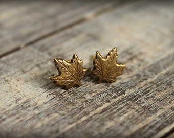 Maple Leaf Earring Posts in Brass