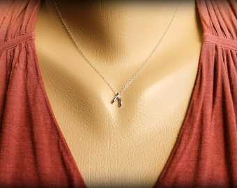 Tiny Wishbone Necklace, Available in Sterling Silver and Rose Gold Vermeil and Rose Gold Filled