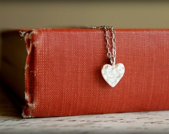 Hammered Heart Necklace, Available in Silver and Gold