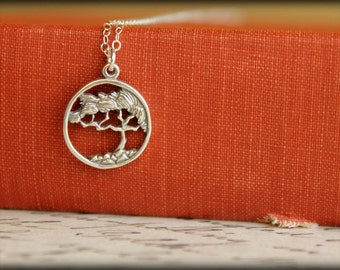 Framed Cypress Tree Necklace in Sterling Silver