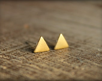 Tiny Smooth Triangle Earring Studs in Raw Brass, Stainless Steel Posts