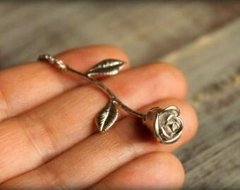 Long Stemmed Rose Necklace in Matte Silver
