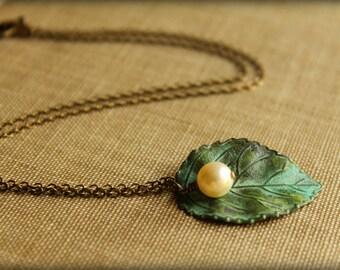 Verdigris Leaf and Swarovski Pearl Necklace