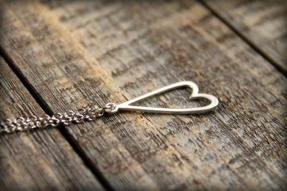 Upside Down Heart Necklace in Silver