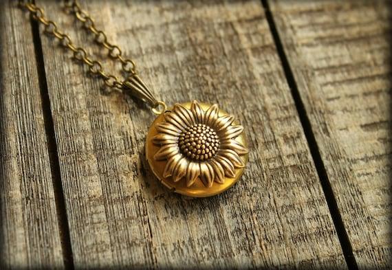 Sunflower Locket Necklace