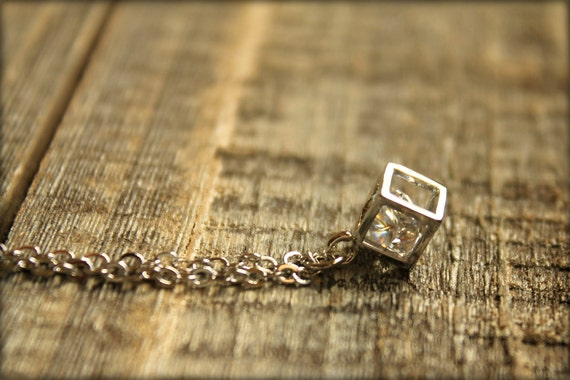 Boxed Diamond Necklace in Silver