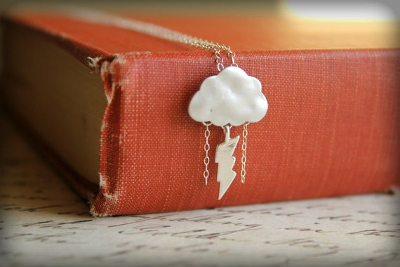 Stormy Day Necklace, Sterling Silver Chain - Storm Cloud Lightning & Rain