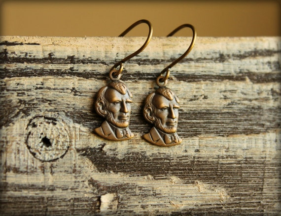 Abe Lincoln Earrings in Aged Brass