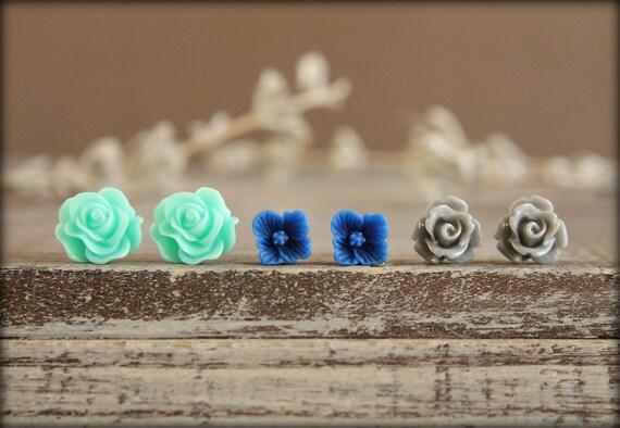 Flower Earring Studs Trio: Aquamarine Scrunch Rose, Cobalt Blue Sakura Blossom, Grey Rose
