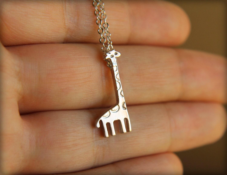 Tiny Giraffe Necklace in Silver