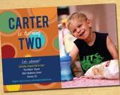Printable Modern Kids Birthday Party Invitation-Circles