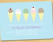 Ice Cream Shoppe Birthday Invitation Printable