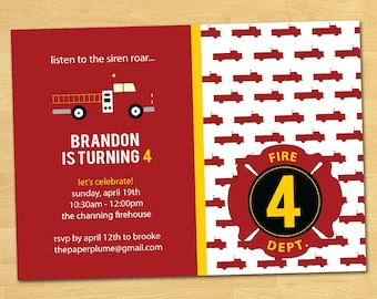 Fire Truck Birthday Party Invitation Printable with or without Photo
