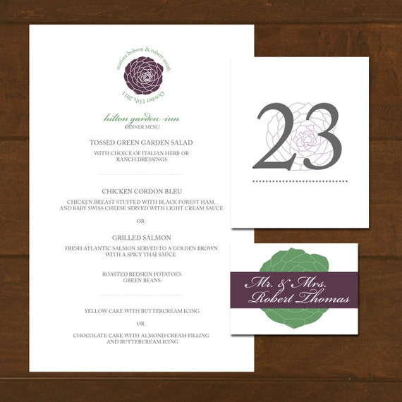 Wedding Reception Menu Placecards Table Numbers Succulent Your Choice Colors