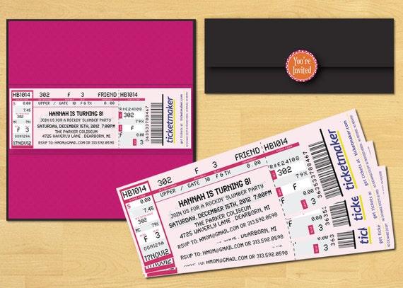 items similar to slumber party ticket invitation printable